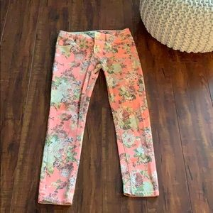Coral Floral Jeans